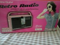 Brand new View Quest Retro radio DAB / DAB + / & fm radio with dock for ipod & iphone Pink