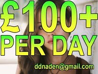 £100+ PER DAY PART-TIME JOB. NO EXPERIENCE NEEDED. ACTRESSES MODELS REQUIRED WANTED. IMMEDIATE START