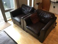 Large leather sofa with two armchairs and a foot rest [pick-up only]