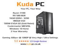 KUDA GAMING PC - Ryzen 3100 - RX580 8GB - 16GB DDR4 - 480GB SSD - WIN 10 - 3 YEAR WARRANTY - DESKTOP