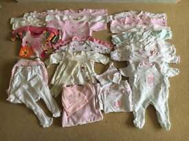 Large bundle of baby girls clothes Newborn