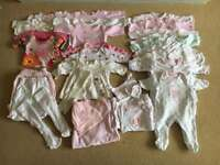 Large bundle of baby girls clothes Newborn