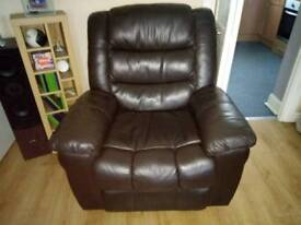 Leather recliner and 3 seater sofa