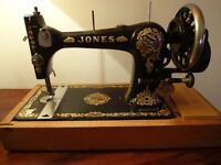 Vintage/Antique Hand Cranked JONES C S Sewing Machine