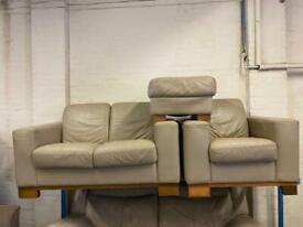 REAL DESIGNER LEATHER SOFA SET 2+1 seater + FOOTSTOOL