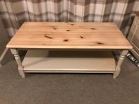 Shabby chic pine coffee table