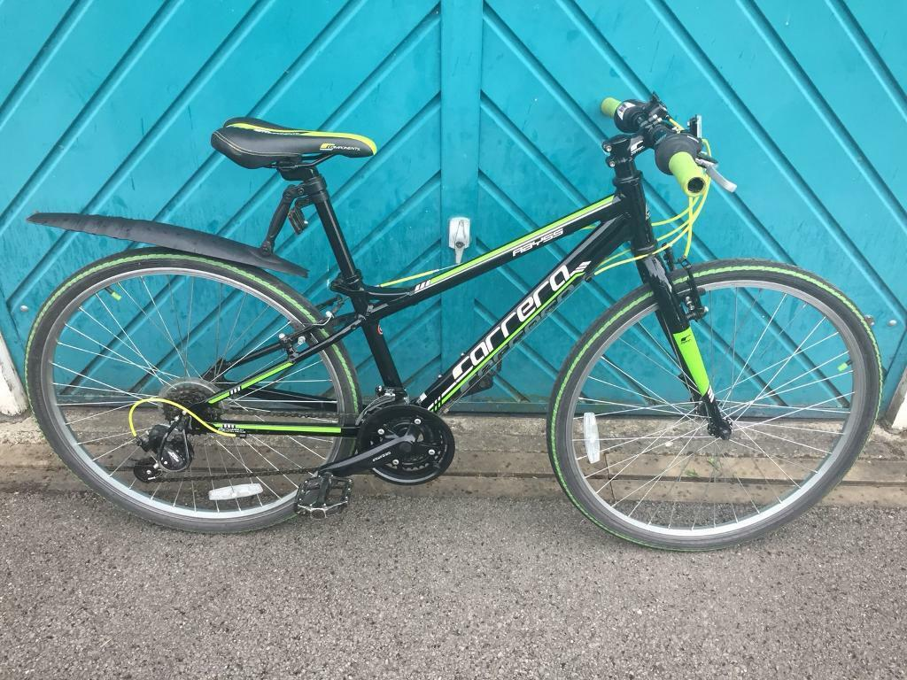 """Junior Carrera Abyss Hybrid bikein York, North Yorkshire - For Sale Junior Carrera Abyss Hybrid bike8 12 yearsShimano 21 speed gearingShimano shifters26"""" wheels with Hybrid tyresV brakes front and rearAluminium frame In excellent condition bought from new"""