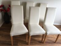 6 Dining room chairs from next cream hardly been used