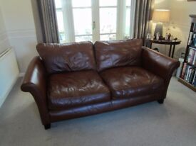 Large (3 seater) Tan / Brown Leather Sofa (available singly or as a matching pair)