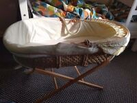 Mothercare Moses basket with stand for sale