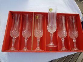 6 x Cristal d'Arques Longchamp 24% Lead Crystal 14,5 cl Glasses bnib