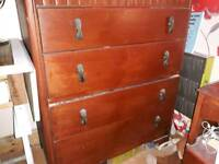 1950's style mahogany stained chest of drawers