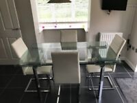 Extending Glass Table & 4 Cream Leather Chairs
