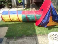 Pop up tent and play tunnel