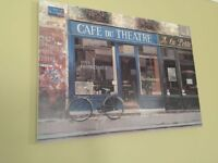 Canvas Print Hanging Wall Art 'Cafe Du Theatre' (Fantastic Condition)