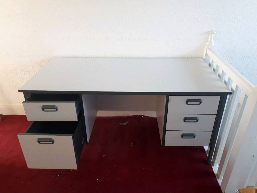 Grey Office Desk With Drawers