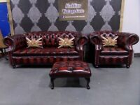 NEW Chesterfield Suite 3 Seater Sofa, Club Chair Footstool Oxblood Leather - UK Delivery