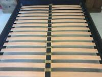 King size genuine leather slatted bed