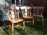 Country Kitchen Style Pine Chairs x 3