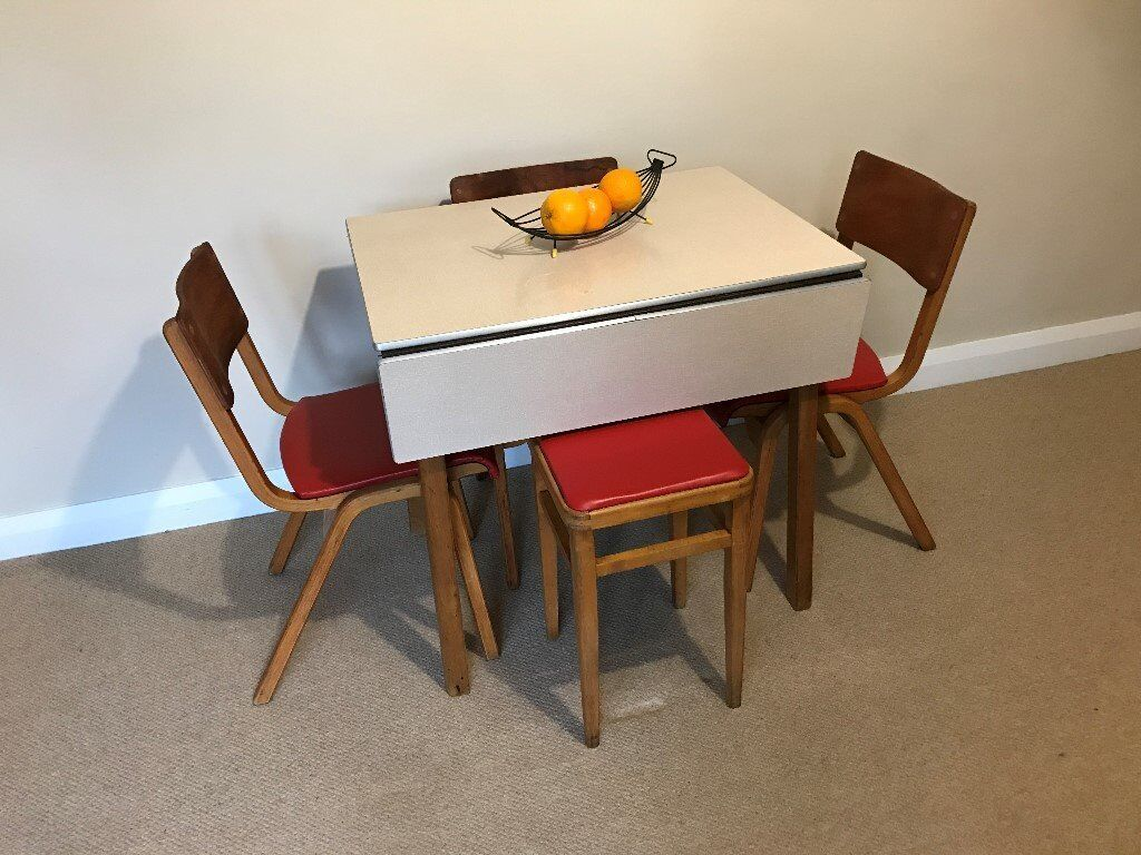 vintage 1950/60's formica top ext kitchen table with 3 matching