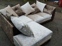 Stunning brown and beige crushed velvet corner sofa. 1 month old. clean and tidy. can deliver