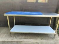 Stainless steel table with poly top
