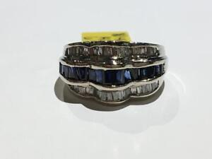 #145 14K WHITE GOLD BAGUETTE STYLE SAPPHIRE AND DIAMONDS *SIZE 6 1/4* JUST BACK FROM APPRAISAL AT $4550.00!