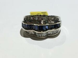 #1464 14K WHITE GOLD BAGUETTE STYLE SAPPHIRE AND DIAMONDS *SIZE 6 1/4* JUST BACK FROM APPRAISAL AT $4550.00!