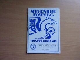 WIVENHOE TOWN F.C. VS. BASINGSTOKE TOWN. 1992 DIADORA PREMIER DIVISION FOOTBALL PROGRAMME.