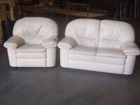 Leather 2 Seat Sofa with Matching Armchair