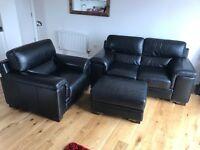 Savoy Leather sofa's / 3 piece suite