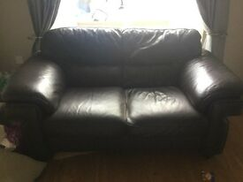 2 Dark Brown High Grade Leather Sofas
