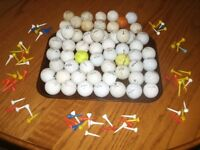 Assorted Used Golf Balls and Tees