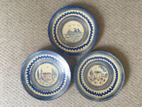 3 probably Italian artistan hand-thrown,hand-painted blue & white wall, hanging plates.£12 lot/£5 ea