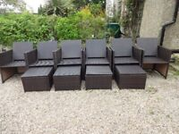 RATTAN GARDEN FURNITURE -- 6 CHAIRS & 4 STOOLS -- OUTSUNNY RANGE --