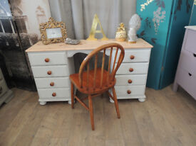 Solid pine desk with a chair in shabby chic style
