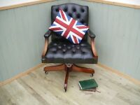Stunning Vintage Green Leather Chesterfield Captains Chair.