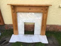 Solid wood mantel piece & marble Hearth and surround