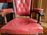 Vintage Wooden Swivel Chair, Deep Red Leather Finish