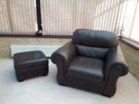 Brown leather sofa, two arm chairs and storage foot rest