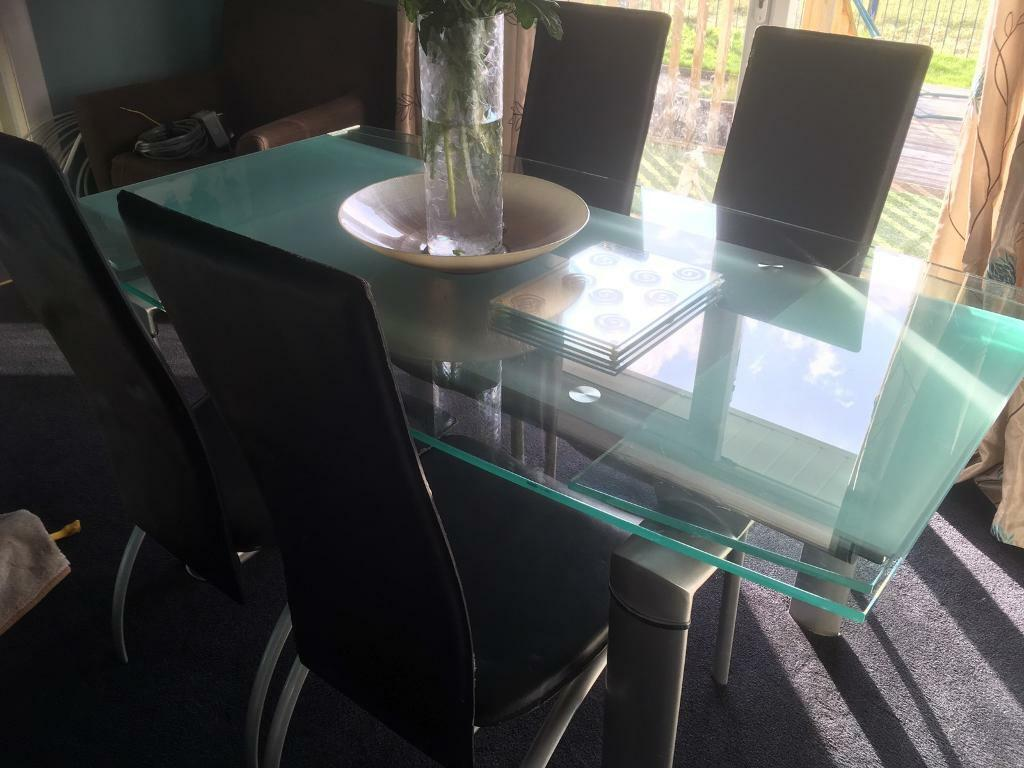Italian Glass Dining Table And Six Chairs In Carluke South Lanarkshire Gumtree