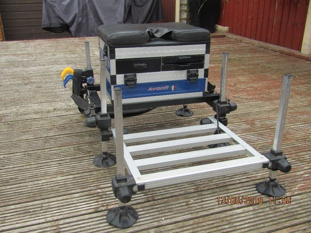 Seat box and complete pole fishing setup  | in Killamarsh, South Yorkshire  | Gumtree