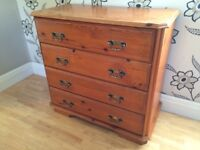 SOLID PINE CHEST OF 4 DRAWERS
