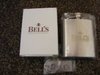 New Boxed Pocket size Bells Whiskey Hip Flask & Metal Key Fob.