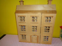 CHILD'S ALL WOODEN GEORGIAN TYPE FOUR TIER DOLLS HOUSE