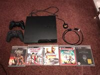PS3 with games, controllers and HDMI leads