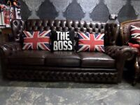 Stunning Chesterfield High Back Chestnut Brown Leather 3 Seater Sofa UK Delivery