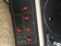 Twin vinyl decks and mixer