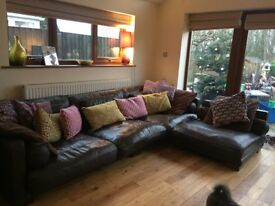 Leather settee brown corner left or right ex DFS
