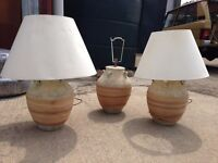 Retro Vintage Large Pottery Ceramic Table Lamps Set of 3